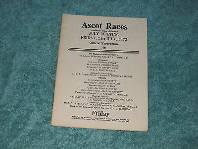 Ascot Race Card  21St July 1972. Hyperion Stakes, First Day Of King George Meeti