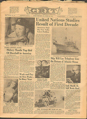 1955 Grit Magazine, Newspaper With Mickey Mantle Photo On Cover & Story Inside