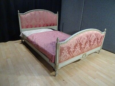 Outstanding antique french KING 5FT bed upholstered with white shabby chic frame