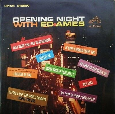 LP Ed Ames Opening Night With Ed Ames TITLES OVER BROADWAY COVER RCA Victor