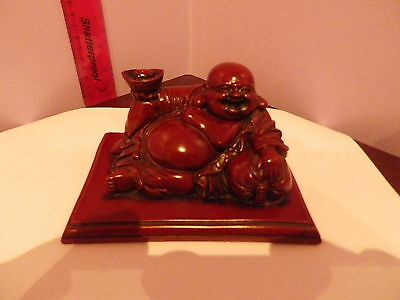 Fab Vintage Chinese Buddha Figure Laying On Large Bed Mixed Material 14 Cms Long
