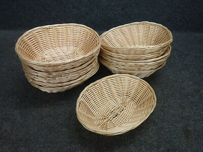"""Lot Of 14 Food Service Polypropylene Oval Hand Woven Fast Food Baskets, 9"""" X 6.5"""