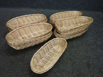 "Lot Of 14 Food Service Polypropylene Hand Woven Fast Food Baskets, 9"" X 3-3/4"""