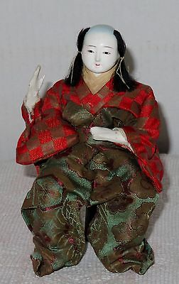 "Antique Japanese Seated 6 3/8"" Male A Musician Hina Doll BH2#AD4161415.8"