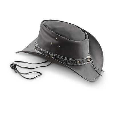 M Horse Western Cowboy Indiana Jones Crushable Oiled LEATHER Outback Hat 24H01