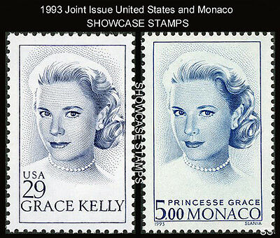 1993 Grace Kelly Princess Grace Joint Issue US # 2749 & Monaco # 1851  Mint NH
