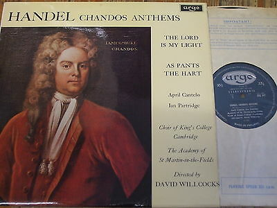 ZRG 541 Handel Chandos Anthems / Willcocks / King's GROOVED OVAL