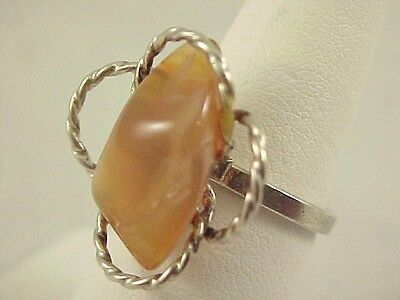 Vintage Polished Agate Stone Silver Ladies Adj Ring Size 6.25 Floral Braided