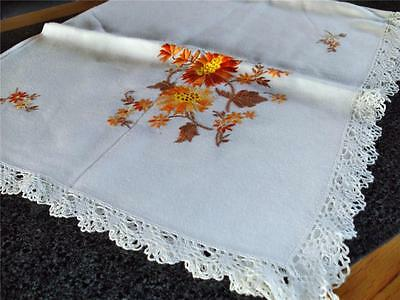 Superb Embroidery Vintage Hand Worked Tablecloth With Cotton Lace Surround