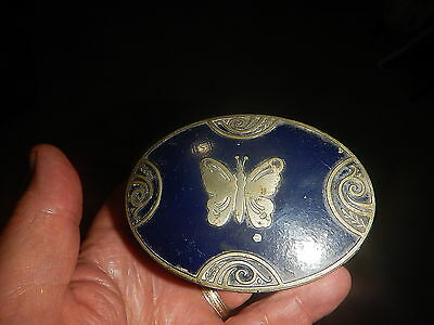 Lucretia Vanderbilt powder box with butterfly on lid and blue paint our collecti