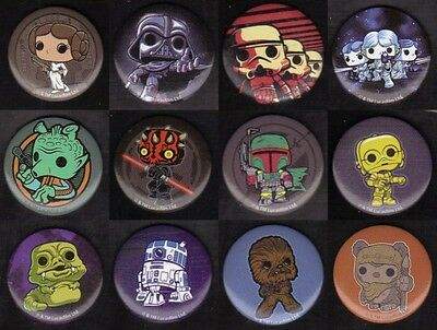"""Pop! Buttons Classic Star Wars - Set of 12 Different (1 1/4"""" Each)"""