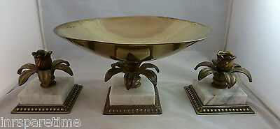 VINTAGE ORMOLU STYLE MARBLE BASED FRUIT CONSOLE BOWL w/CANDLE HOLDERS