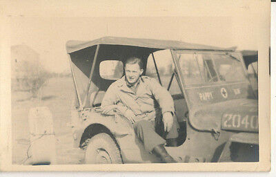 """WWII 1945 6th Inf Div GI in Army Jeep """" PAPPY S?"""" RPPC  Photo"""