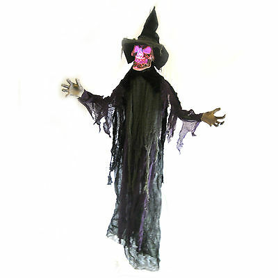 """Scary Death Witch Color Lighted Skull Hanging Halloween Haunted House Prop 68"""""""