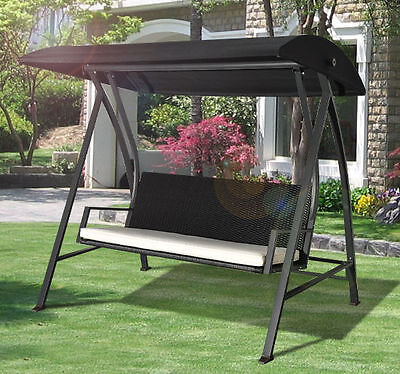 Outdoor Garden Rattan Swing Chair Swinging Hammock 4 Seater Bench Bed Lounger