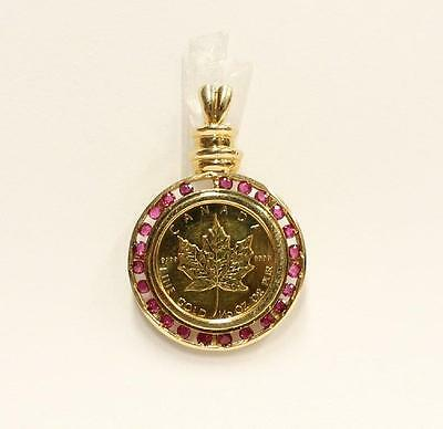 1/10th oz Canada Gold Maple Leaf coin 14K gold Pendant 23 Rubies 7.19  grams