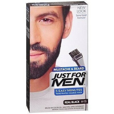 Just For Men Mustache & Beard #M-55 Real Black Color Gel, New