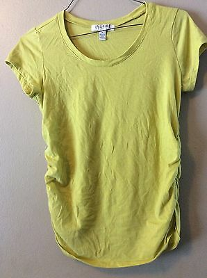 Inspire Maternity Pineapple Yellow Ruched Sides Comfy Long T-shirt Sz L
