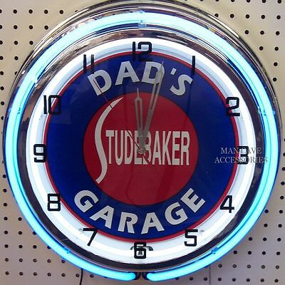 "18"" Dads STUDEBAKER Garage Sign Double Neon Clock"