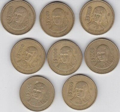 Lot of 8  Mexico 1000 Peso Coins Hard to Find 1988- 1989 -1990-