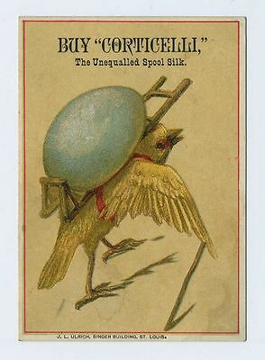 1800's Advertising Trade Card Fantasy Baby Chick Carrying Egg Corticelli cv6459