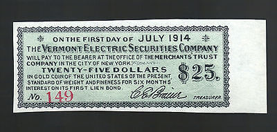 $25 VERMONT ELECTRIC SECURITIES 1914 US Gold Coin Bond Coupon OLD VT Paper Note