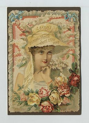 1800's Advertising Trade Card Laird White Lilac Soap Kauffman Lattimer Co cv6659