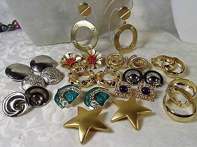 Vintage Jewlery Lot Clip On Earrings Gold-SilverPlate Sarah Coventry Erwin Pearl
