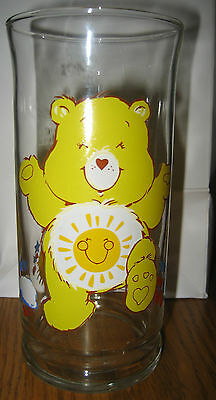 Vintage 1983 FUNSHINE CARE BEAR Pizza Hut GLASS American Greeting Collector