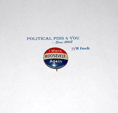1940 Franklin Roosevelt FDR pin pinback button campaign presidential election