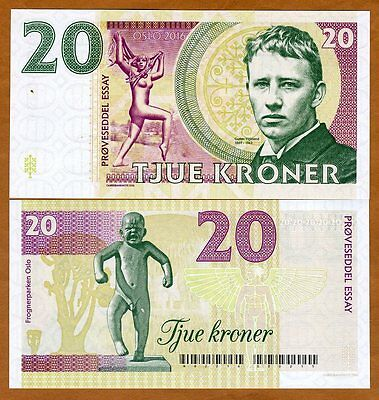 Norway, 20 Kroner, 2016 Private Issue Essay Specimen UNC > Gustav Vigeland
