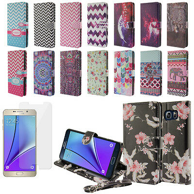 For Samsung Galaxy Note 5 Magnetic Stand Wallet Cover Case + Screen Protector