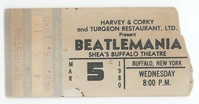 Beatlemania 3/5/80 Buffalo NY Sheas Theatre Concert Ticket Stub! The Beatles