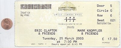 ERIC CLAPTON MARK KNOPFLER 3/25/03 London RAH BIG Ticket Stub! Dire Straits