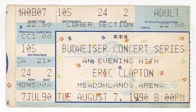 RARE Eric Clapton 8/7/90 E Rutherford NJ Meadowlands Concert Ticket Stub!