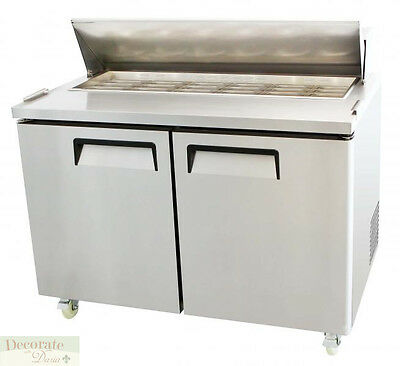 """SALAD SANDWICH PREP TABLE 48"""" REFRIGERATED 2 Door 18 Pans 15 Cu Ft Stainless New"""