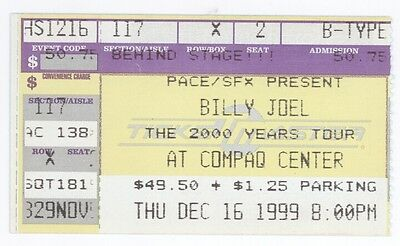 RARE Billy Joel 12/16/99 Houston TX Compaq Center Concert Ticket Stub!