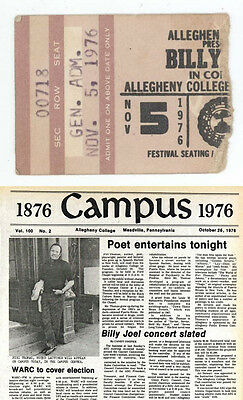 MEGA RARE Billy Joel 11/5/76 Meadville PA Allegheny College Concert Ticket Stub!