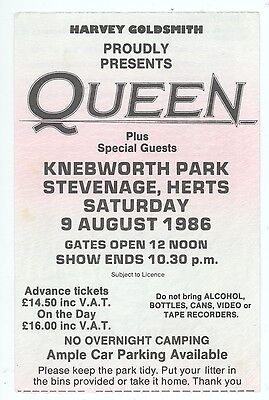 Rare QUEEN STATUS QUO BIG COUNTRY 8/9/86 Knebworth England Concert Ticket Stub!