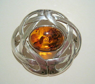 *LARGE* RENNIE MACKINTOSH STYLE Vintage WOVEN STERLING & AMBER CABOCHON PIN