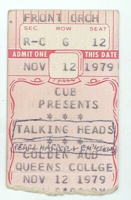 RARE Talking Heads & Pearl Harbor and the Explosions 11/12/79 NYC Ticket Stub!