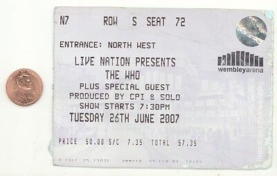 Rare THE WHO 6/26/07 London England Wembley Arena LARGE Concert Ticket Stub!