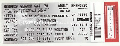 Rare WHITESNAKE 6/20/15 Houston TX House of Blues Concert Ticket! HoB