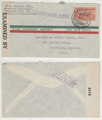 1942 WWII Merida Yucatan Mexico - Louisville Kentucky Censor Cover! Air Mail C68