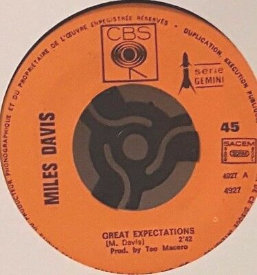Rare Miles Davis 45Rpm Great Expectations. French Import Cbs 4927