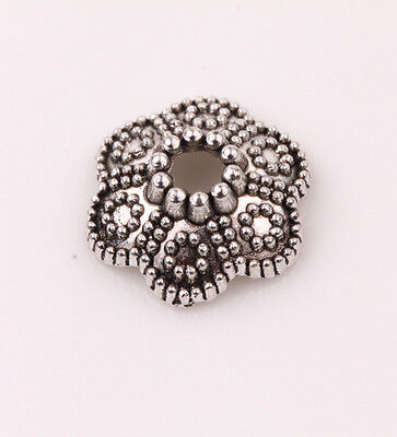 15PCS Round Floral Tibetan Silver Bead Caps Jewelry Findings 11*4mm