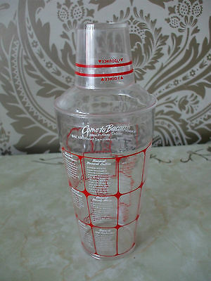 Plastic Bacardi Cocktail shaker with measure & recipes