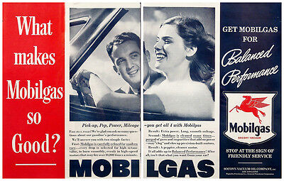 1939 Mobil Mobilgas Socony-Vacuum Oil Two Page Vintage Magazine Ad