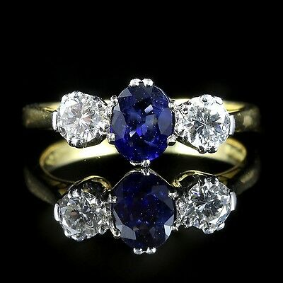 Diamond Sapphire Ring Trilogy 18Ct Gold
