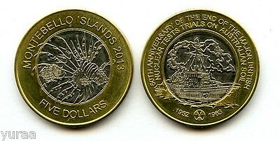 Montebello Islands - 5 Dollars 2013 Fantasy Coin, Nuclear Weapon Testing